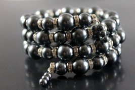 Handcrafted Gray Glass Beads Bracelet with Memory Wire - $19.99
