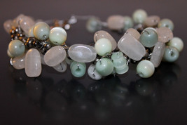 Handcrafted Green Tiger's Eye Bracelet with White Moonstone - $24.99