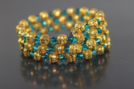 Handcrafted Green Swarovski Crystal Beads Bracelet with Memory Wire - $29.99