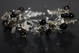 Handcrafted Black and White Onyx Bracelet with Glass Beads - $29.99