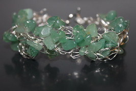 Handcrafted Green Aventurine Chips Braided Bracelet - $29.99