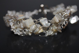 Handcrafted White Moonstone Chips Braided Bracelet - $29.99