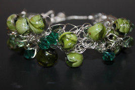 Handcrafted Green Marbled Glass Beads Bracelet - $19.99