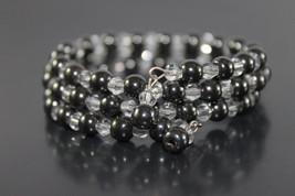 Handcrafted Hematite Swarovski Beads Bracelet Memory Wire - $29.99