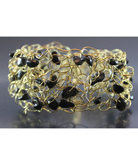 Handcrafted Black Glass Beads Bracelet with Crocheted Wire - $19.99