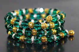 Handcrafted Green Glass Beads Bracelet Memory Wire - $19.99