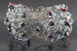 Handcrafted Purple Glass Beads Bracelet with Crocheted Wire - $19.99