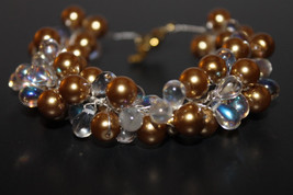 Handcrafted Gold/Clear Glass Beads Bracelet - $19.99