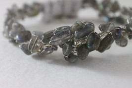 Handcrafted Labradorite Beads Silver Wire Bracelet - $34.99