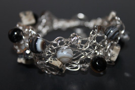Handcrafted Agate Gemstones Bracelet with Clear Glass Beads - $29.99
