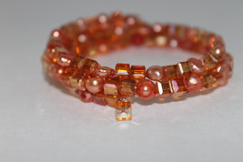 Handcrafted Peach Swarovski Glass Beads Bracelet Memory Wire - $29.99