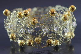 Handcrafted Clear Glass/Goldtone Beads Bracelet with Crocheted Gold Tone... - $19.99