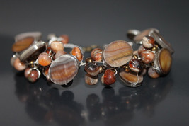 Handcrafted Mother of Pearl Shell Bracelet with Carnelian Beads - $29.99