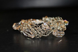 Handcrafted Seven Swarovski Clear Crystals Bracelet with Braided Wire - $59.99