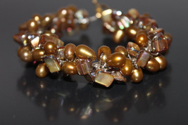 Handcrafted Mother of Pearl Shell Beads Bracelet with Freshwater Pearls - $29.99