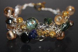Handcrafted Green/Gold Glass Beads Bracelet - $19.99