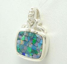 Sterling Australian Opal Mosaic Doublet Square ... - $39.00