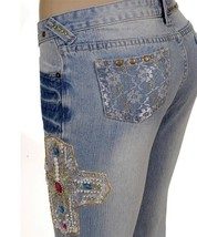 Goth Chic Embellished Studs Faded Rinse Blue Lace Cross Beaded Jeans Pan... - $74.99