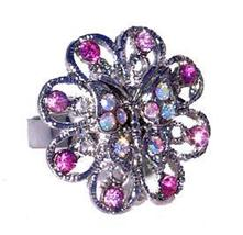 Women's or Girl's Austrian Crystal Ring Flower Shaped with Butterfly Pink - $5.00