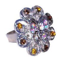 Women's or Girl's Austrian Crystal Ring Flower Shaped with Butterfly Topaz - $5.00