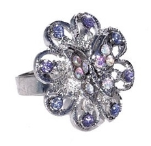 Women's or Girl's Austrian Crystal Ring Flower Shaped with Butterfly Lav... - $5.00