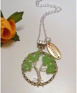 August Birthstone Green Crystal  Wirewrapped Tree of Life Necklace  - $19.99