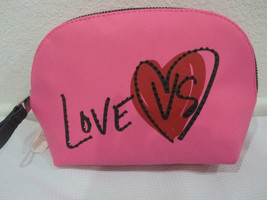 NWT Victoria's Secret Pink Black Heart Rhinestone Makeup Bag - $24.99