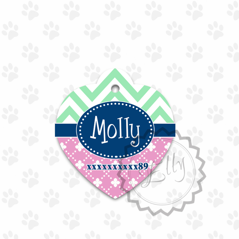 Primary image for Metal pet tag ID, heart shaped chevron and pink colored dog tag, steel tags