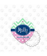 Metal pet tag ID, heart shaped chevron and pink colored dog tag, steel tags - $8.99