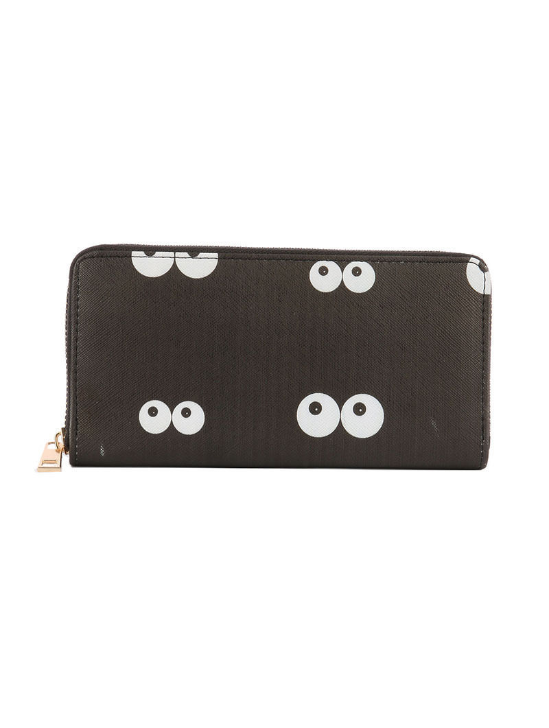 Eye Balls in the Dark Print Zip Around Wallet Clutch Purse Eyes