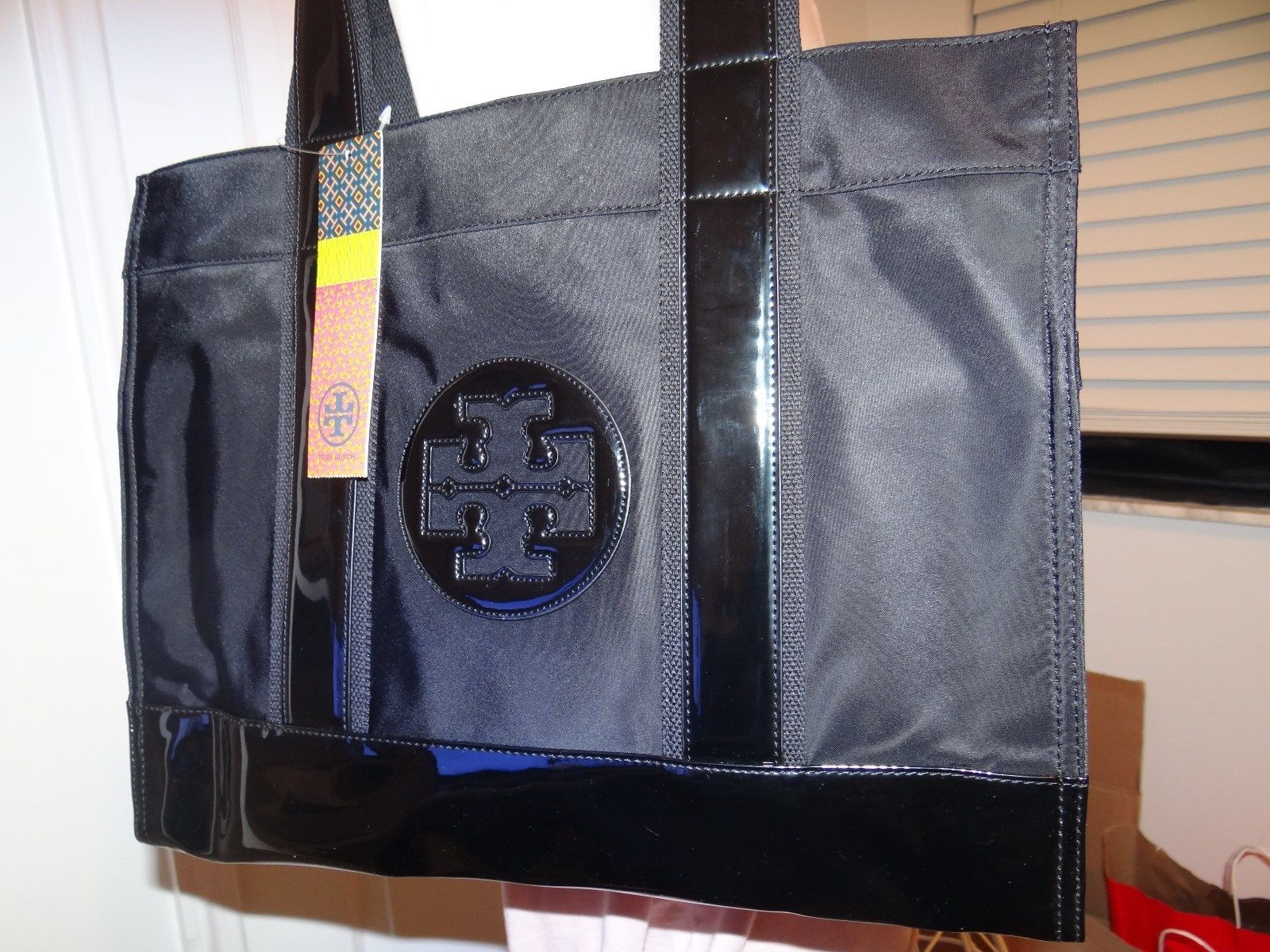 TORY BURCH BLACK ON BLACK NYLON & PATENT LEATHER LARGE TORY TOTE