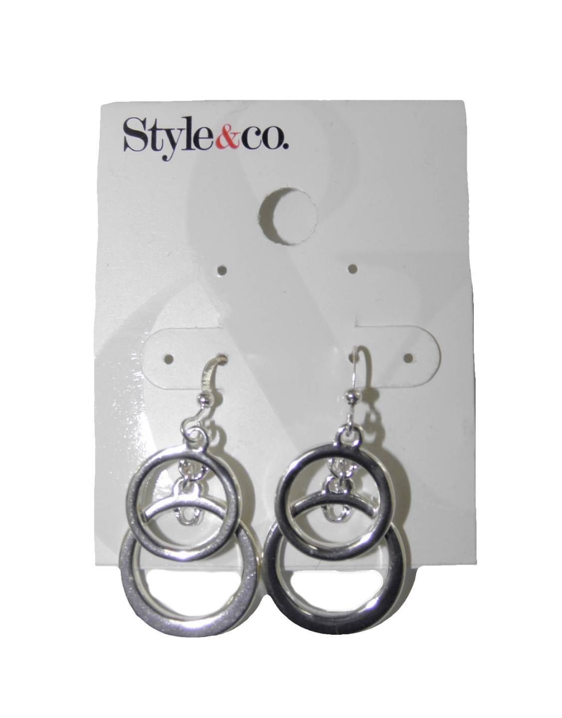NEW STYLE & CO. DOUBLE CIRCLE DROP DANGLE EARRINGS SILVER TONED