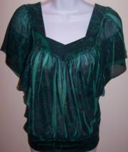 L8ter Women's Blouse S Green Floral Print Semi-Sheer 100% Polyester Wais... - $10.99