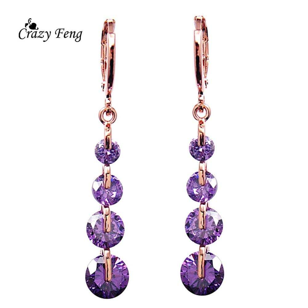 2018 Fashion CZ Crystal Earrings Rose Gold Color Long Drop Earrings for Women We
