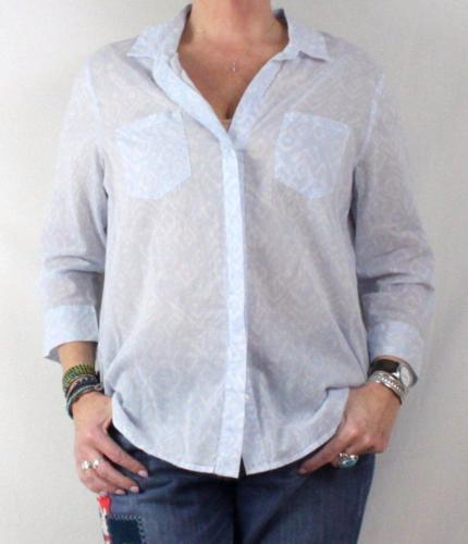Primary image for KC Khakis & Co M size New Blue Gray White Blouse Thin Lightweight Shirt Sheer