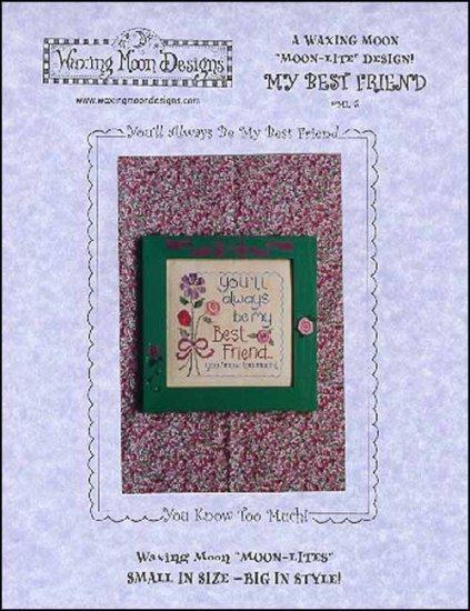My Best Friend Moon-Lite cross stitch chart Waxing Moon Designs