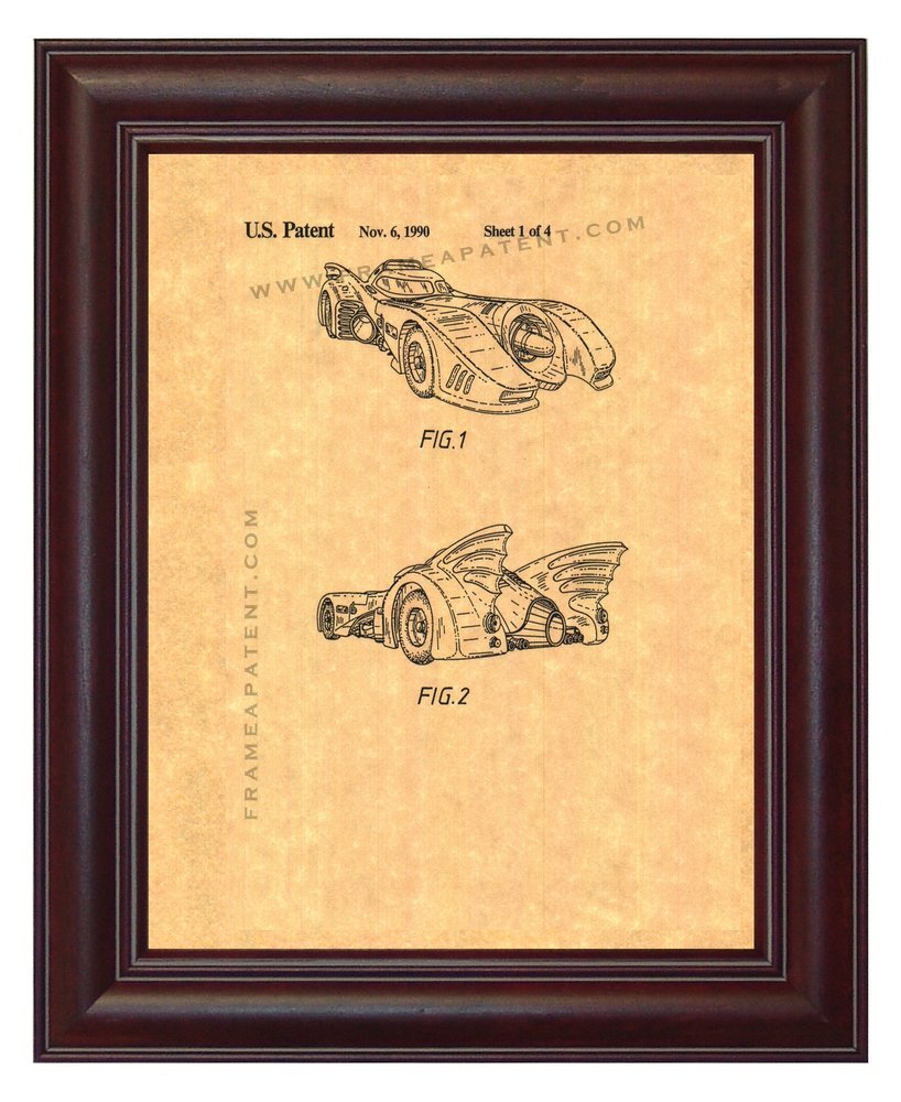 Primary image for Batmobile Patent Art Print - Dark Cherry Wood Frame (8.5''x11'')