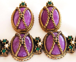 Edwardian Purple Rhinestone Bracelet Earring Set Demi Parure - $55.00