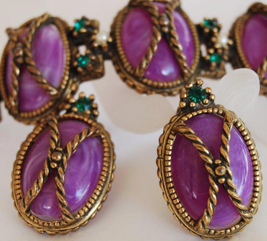 Edwardian Purple Rhinestone Bracelet Earring Set Demi Parure