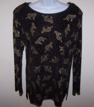 Caviar Women's Blouse S Long Sleeve Animal Print Side Slits Acetate Made... - $10.99