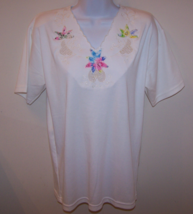 Nitaya Women's Top Med Embroidered Floral Print Short Sleeve 100% Cotton... - $10.99