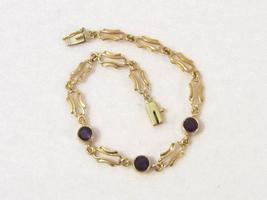 Antique Vintage Art Nouveau 14K Solid YG Genuine Amethyst Link chain Bra... - $315.00
