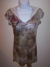 Code Vintage Junior Top Tunic Hood L Multi - Color Short Sleeve Retail $... - $10.99