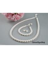 Flower girl jewelry set, Simple pearl jewelry, Single strand necklace, b... - $48.00