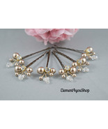 Bridal Hair Pins, Wedding Hair Accessories, Champagne gold ivory pearls ... - $34.00