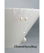 Bridesmaids necklaces, earrings, sterling silver, chain, pendant, simple... - $34.00
