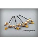 Wedding hair clips, Bridal Hair Accessory, Swarovski brown gold pearls, ... - $24.00