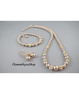Bridal jewelry set, Swarovski pearls necklace bracelets earrings, Bridal... - $78.50