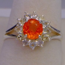 Fanta Orange Garnet with White Sapphire Halo Handmade Silver Ladies Ring size 7 - £109.98 GBP