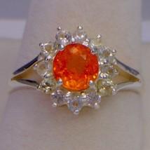 Fanta Orange Garnet with White Sapphire Halo Handmade Silver Ladies Ring... - £110.86 GBP